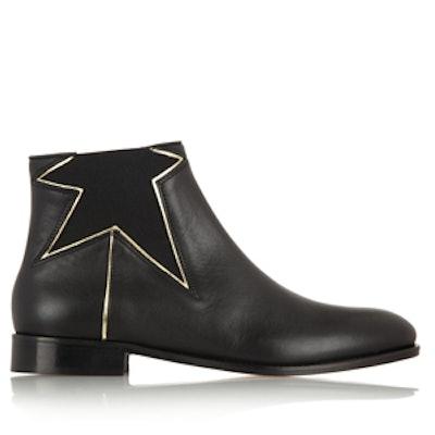 Metallic Star Leather Boots