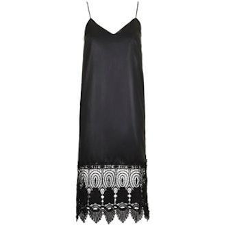 Wet-Look Lace Hem Slip Dress