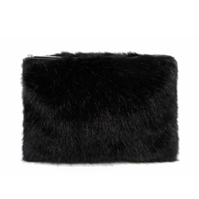 Faux Fur Clutch in Black