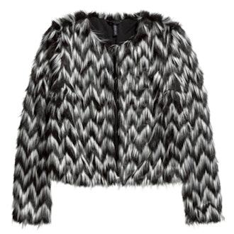 Faux Fur Striped Jacket