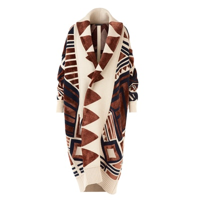 Wool-Blend Geometric Cardigan