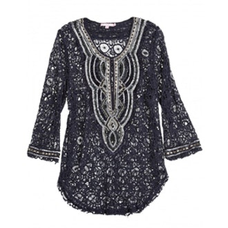 Vedrea Embellished Lace Cotton Tunic