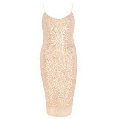 Nude Glittery Slip Dress