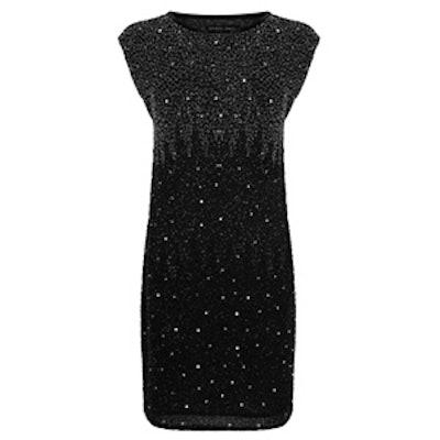 V-Back Embellished Shift Dress