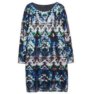 Ethnic-Print Sequinned Dress