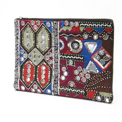 Sequin Abstract Print Clutch
