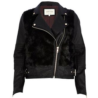 Faux Fur Panel Biker Jacket