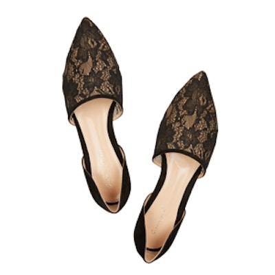 Lace and Suede Point-Toe Flats