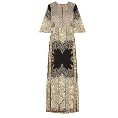 Embellished Printed Silk Crepe Gown