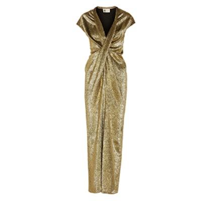 Silk-Blend Lamé Gown
