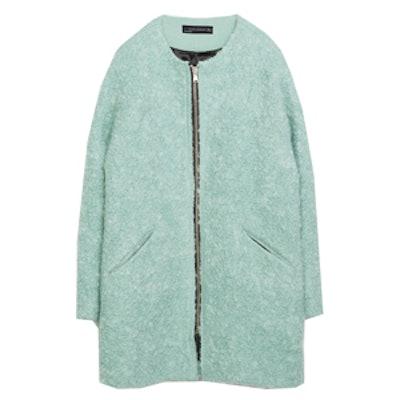 Zipped Boucle Coat