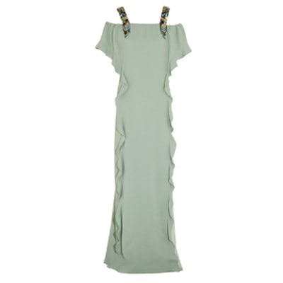 House Of Voltaire Crystal Embellished Crepe Gown