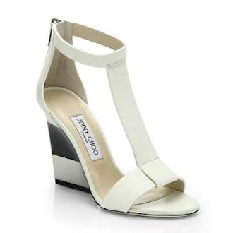 Maxy Leather T-Strap Platform Wedge Sandals