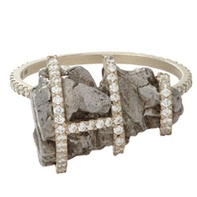 Meteorite Ring With Pave Diamonds