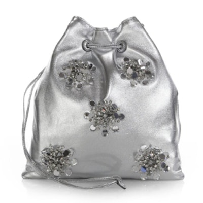 Nappa Crystal-Embellished Drawstring Pouch