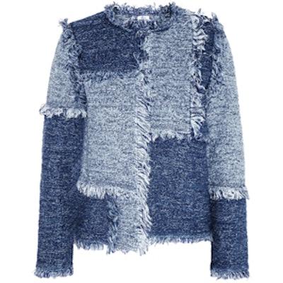 Patchwork Denim-Look Tweed Jacket