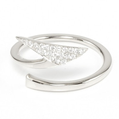 Silver And Pave Diamond Ring