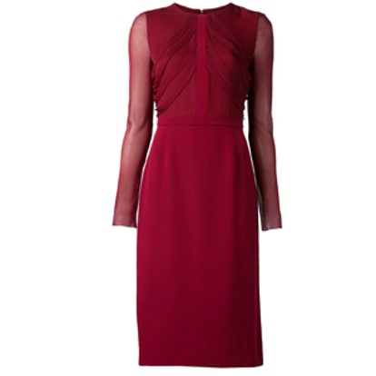 Crepe Sheer Sleeve Dress