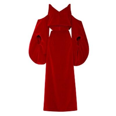 Slit-Front Velvet Gown