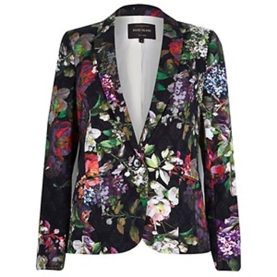 Black Floral-Print Blazer