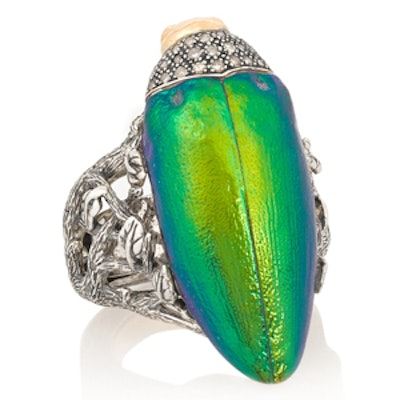 Scarab And Diamond Ring