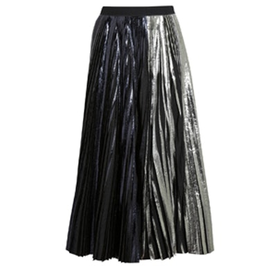 Pleated Metallic Coated Skirt