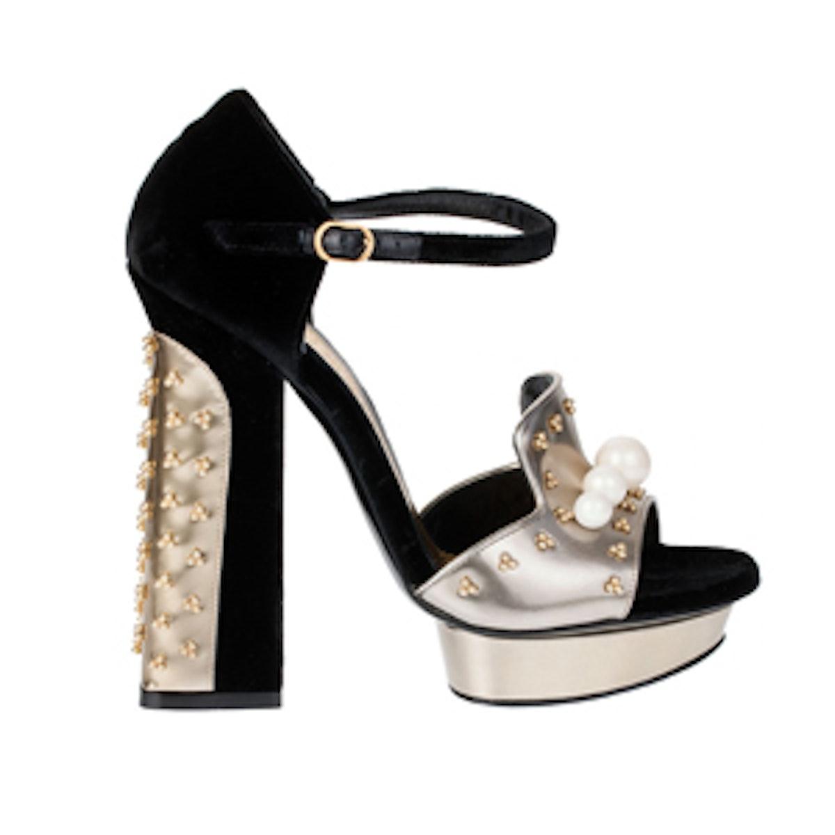 Embellished Velvet Heels