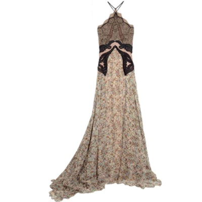 Green Carpet Challenge Lace And Floral Print Silk Gown