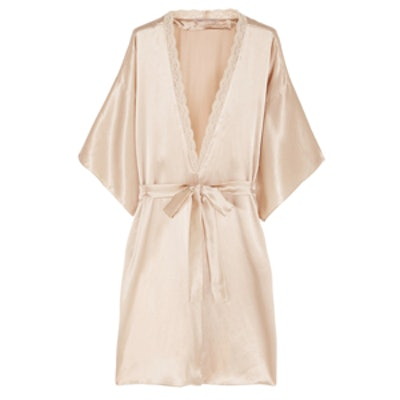 Lace-trimmed Silk Robe