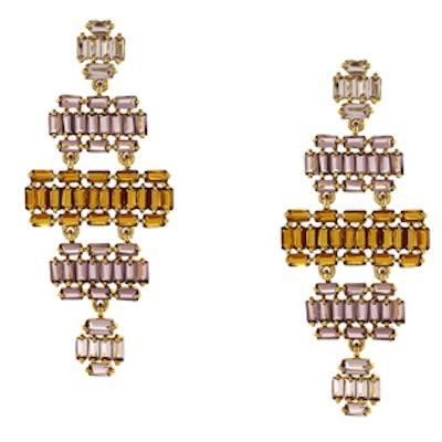 Multi-Color Baguette Chandelier Earrings