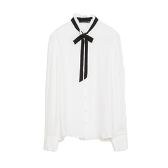Contrast Tie-Neck Silk Blouse