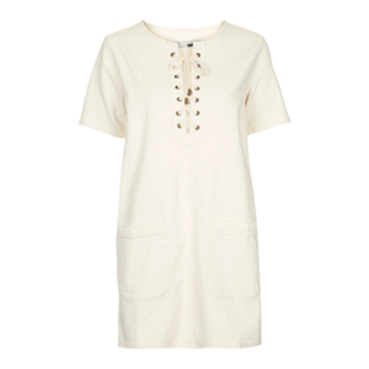 Denim Lace-Up Shirt Dress