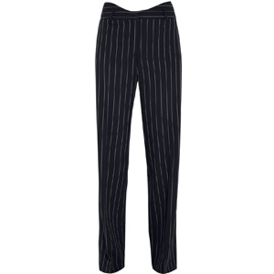 Pinstriped Wool Wide Leg Pants