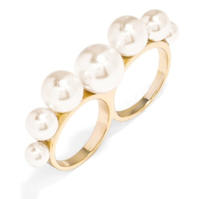 Pearl Two-Finger Ring