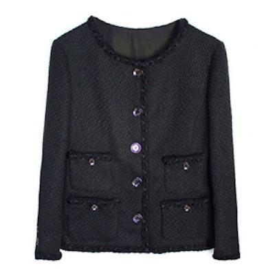 Tweed Jacket with Plaited Trim
