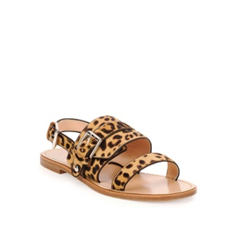 Double-Band Leopard-Print Sandal