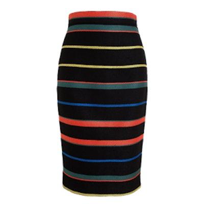 Striped Knit Pencil Skirt