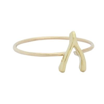 Gold Mini Wishbone Ring