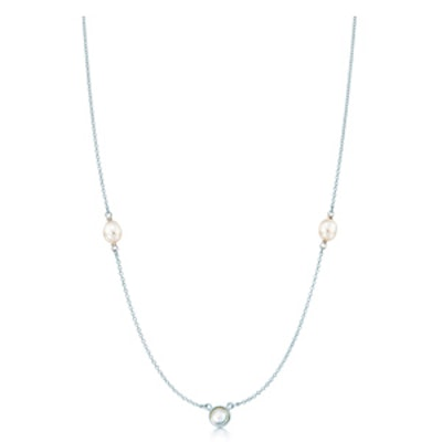 Elsa Peretti® Color by the Yard sprinkle necklace in silver with a moonstone