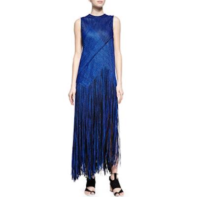 Chain-Knit Fringe-Skirt Dress