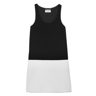 Two-Tone Double Face Crepe Dress