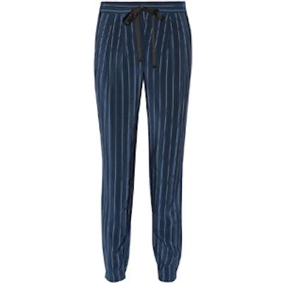 Pinstriped Silk Crepe De Chine Pants