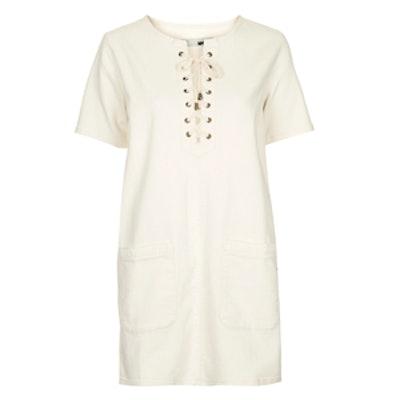 Denim Lace-Up T-Shirt Dress
