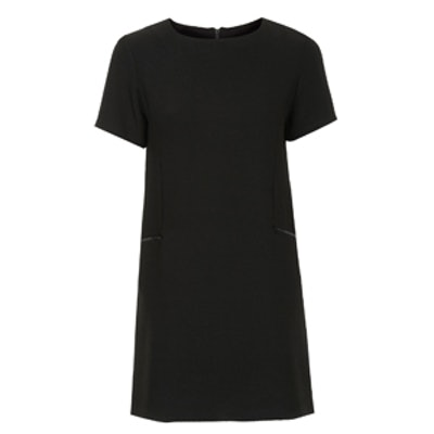 Crepe Zip Shift Dress