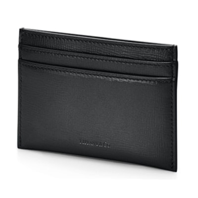 Flat card case in black textured leather