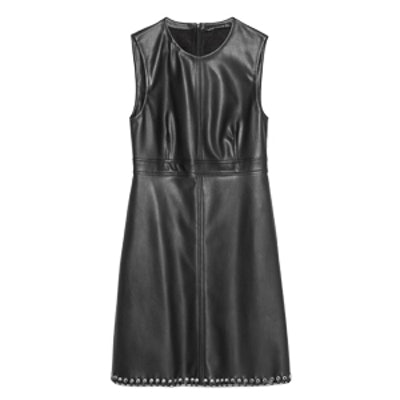 Faux Leather Dress With Decorated Hem
