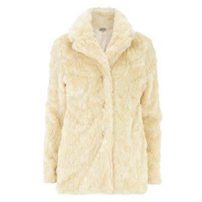 Cream Long Faux Fur Coat