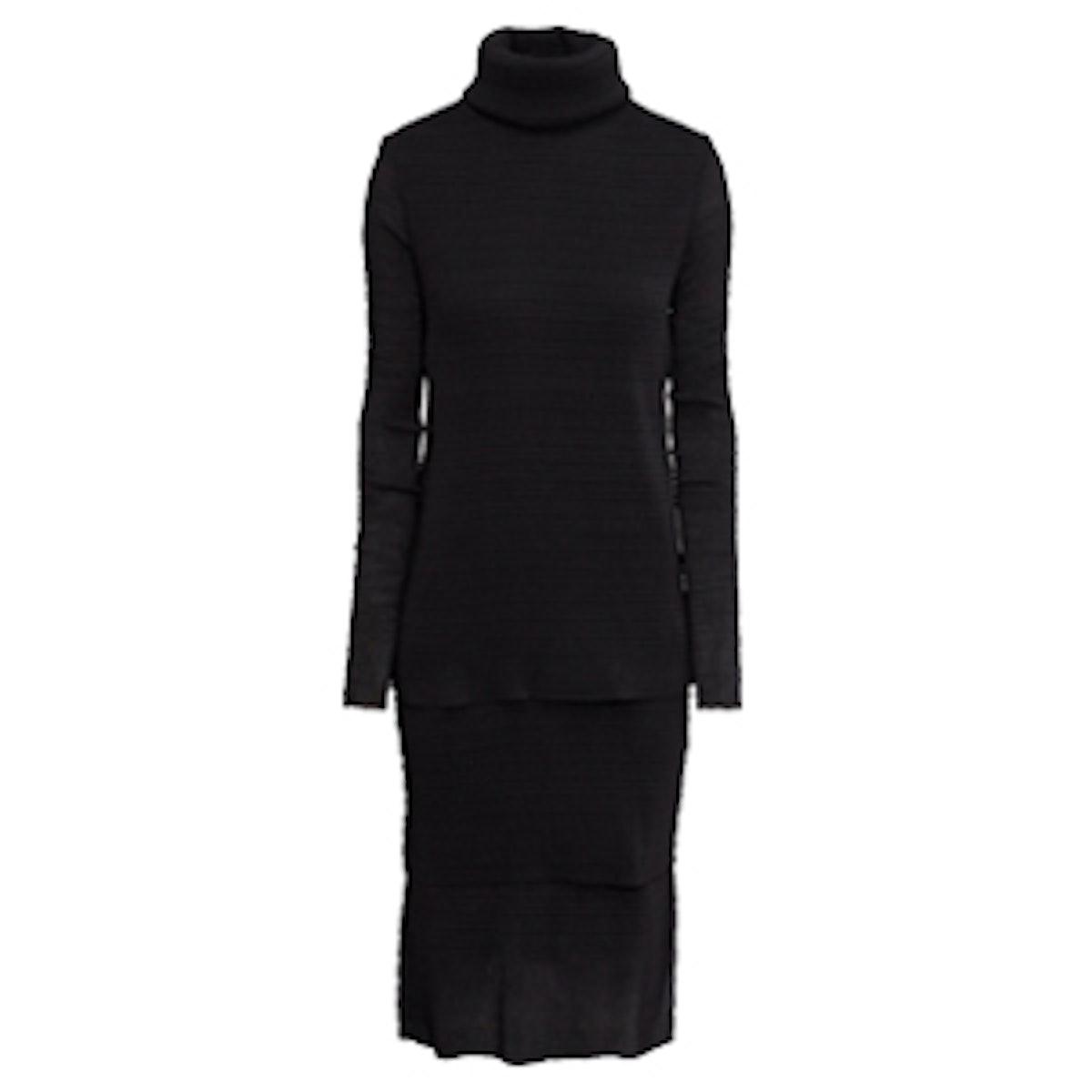 Crinkled Turtleneck Dress