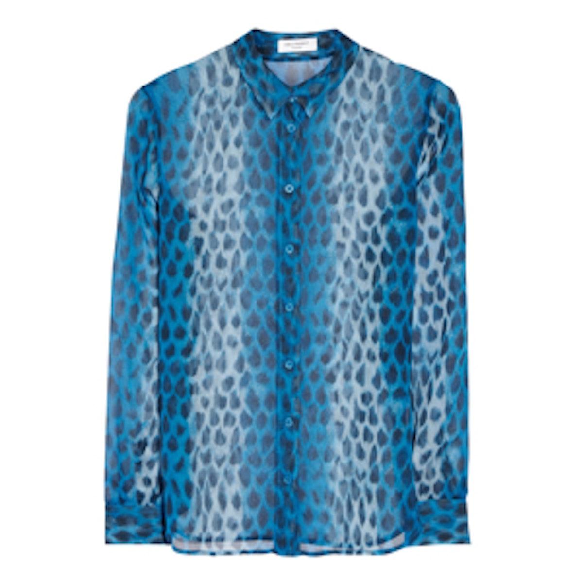 Audrey Leopard-Print Silk-Chiffon Shirt