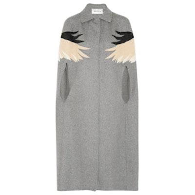 Appliquéd Wool-Blend Felt Cape